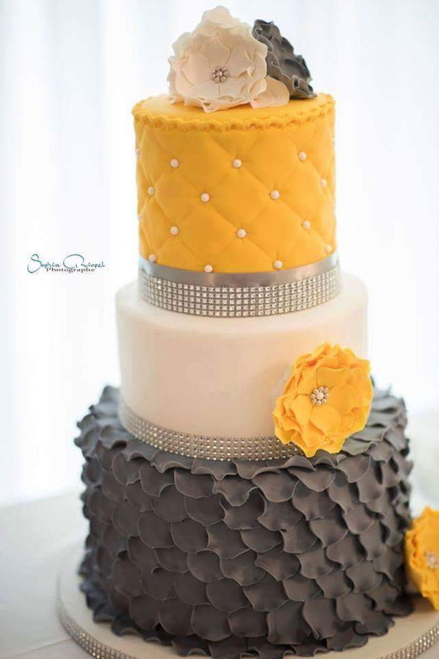Grey and yellow wedding cake on cake central cake art pinterest