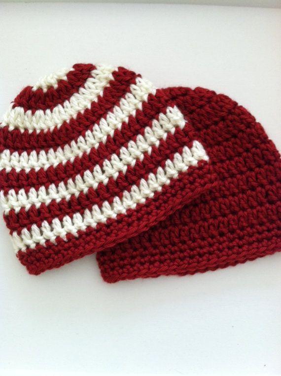 Red and Creamy White Prep Set, Crochet Baby Hats, Newborn Beanies ...