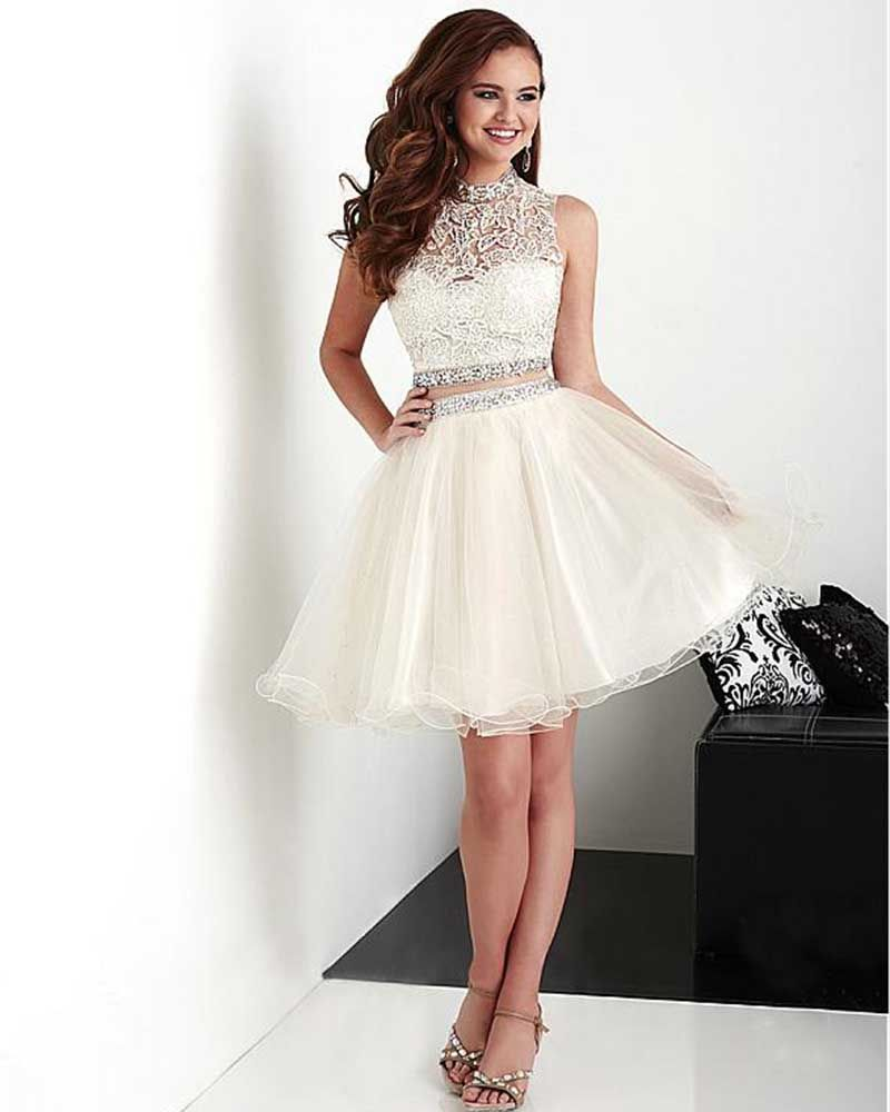 09bd899096f9 Summer Short Halter Open Back Beige A-Line Organza 2 Pieces Appliques  Homecoming Dress With Beaded Waist 8th Grade Prom Dresses