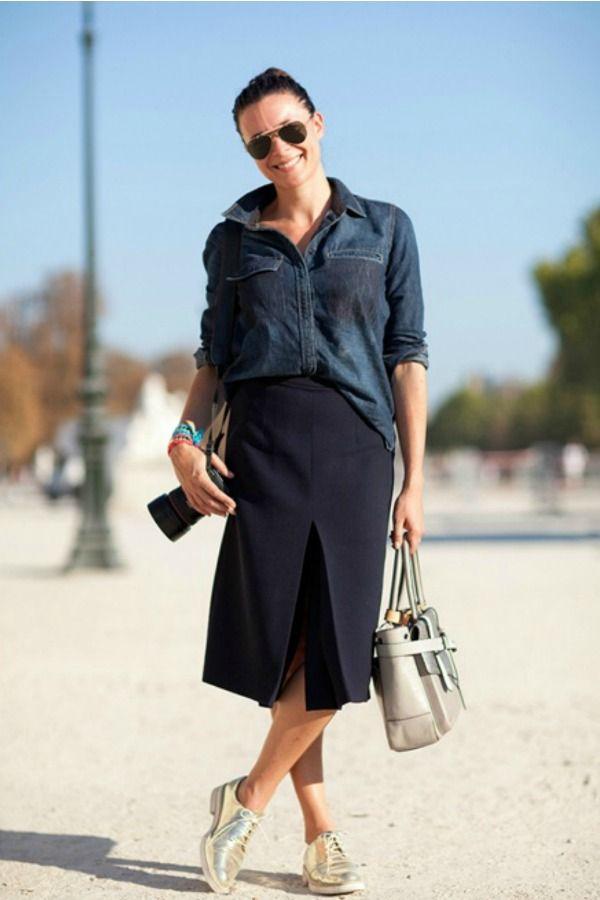 b6e084dc09 Vista-se como uma fashionista francesa - Garance Dor  Looks Casuais, Tenis  Dourado