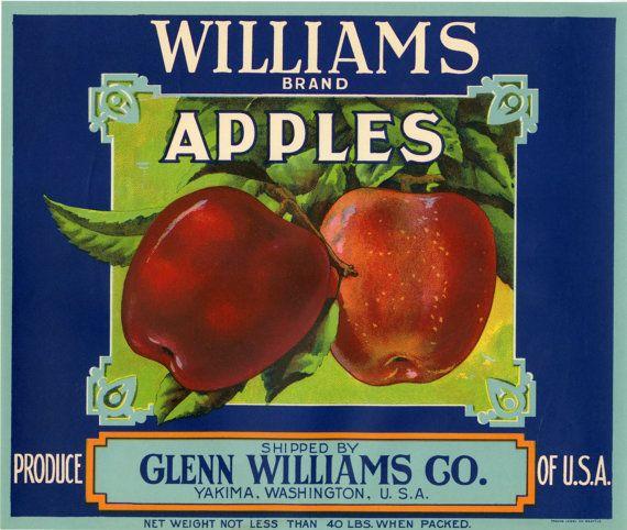 1920 Vintage Crate Label Apple Print Yakima Washington Williams Brand Produce Glenn Williams Co Usa Art Decor Wall Hanging Christmas Gift Apple Fruit Apple Crates Apple Prints
