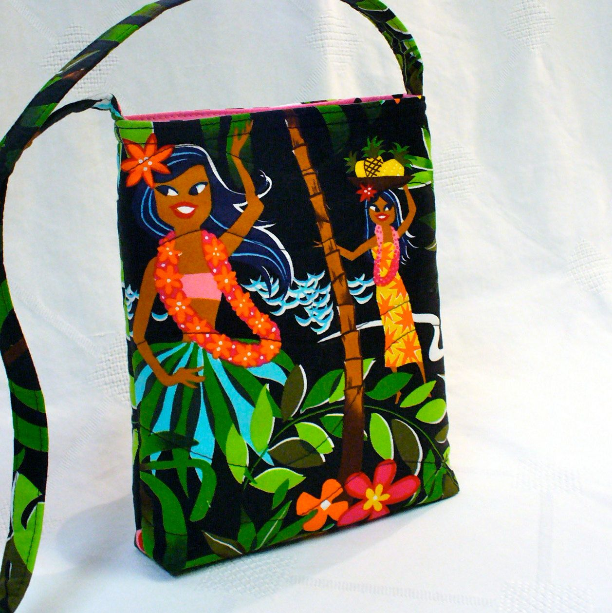Small Sling Bag Messenger Bag Hawaiian Hula Girl by Heart2Handbags, $30.00