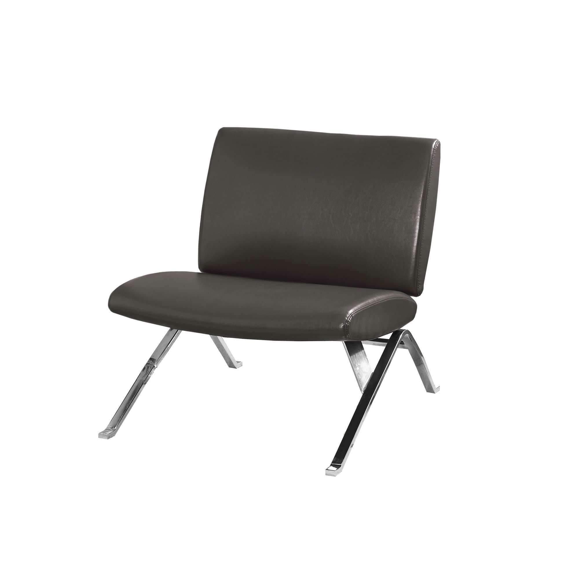 Charcoal Grey Bucket Accent Chair: Charcoal Grey Leather-Look Chrome Metal