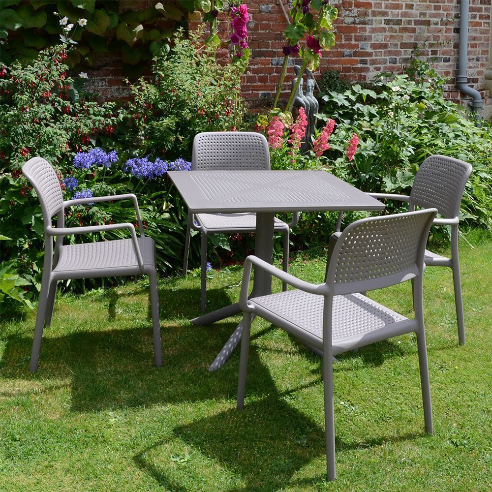 4 Seater Garden Dining Set Beige Plastic Resin Square Table Outdoor Furniture Cheap Garden Furniture Plastic Garden Furniture Diy Garden Furniture