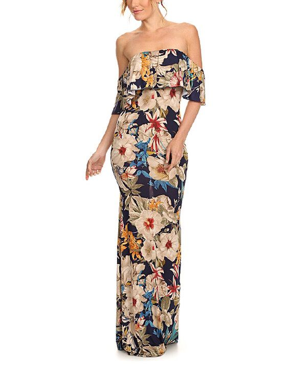 9b770201480b Look at this Karen T. Design Black & Pink Floral Ruffle Off-Shoulder Maxi  Dress on #zulily today!