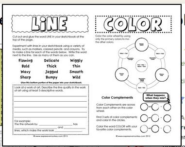 Elements of Art Sketchbook Activities | Art Projects & Class