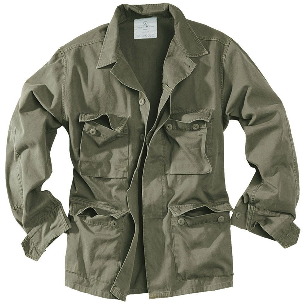 Surplus Army Style Lightweight BDU Mens Cotton Military Jacket Washed Olive  OD  Surplus  Military ab4616db955