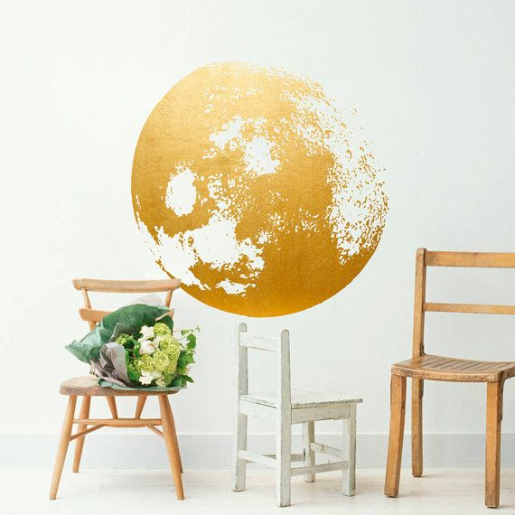 Moon Decal Golden Gold Foil Art Moon Wall by HomeArtStickers ...