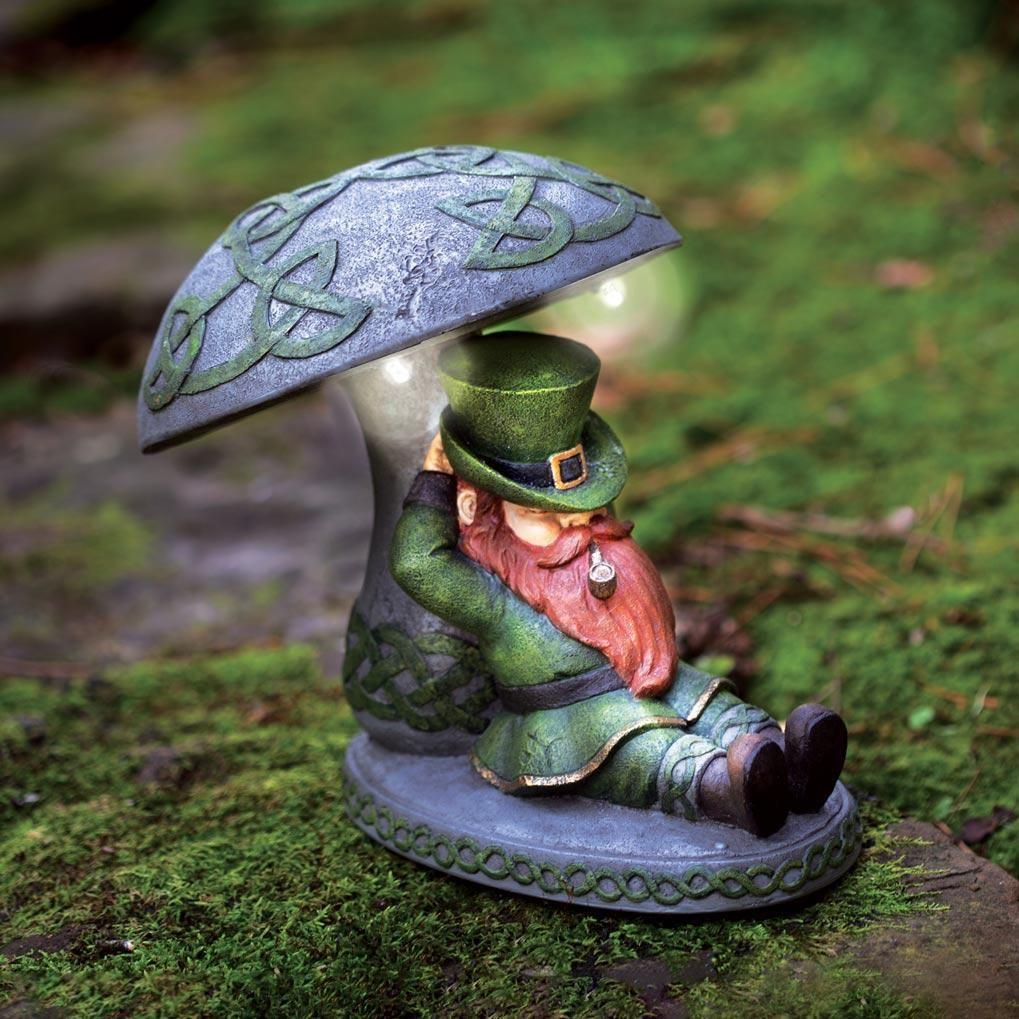 Leprechaun Leaning on Solar Mushroom Creative Irish