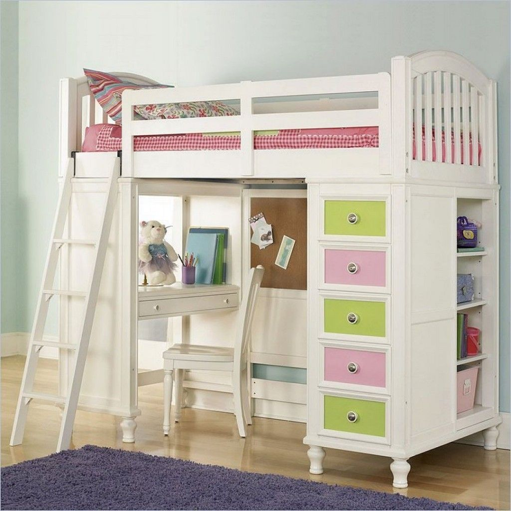 Loft bed for teen girls with desk pulaski unique loft for Modern bunk bed with desk