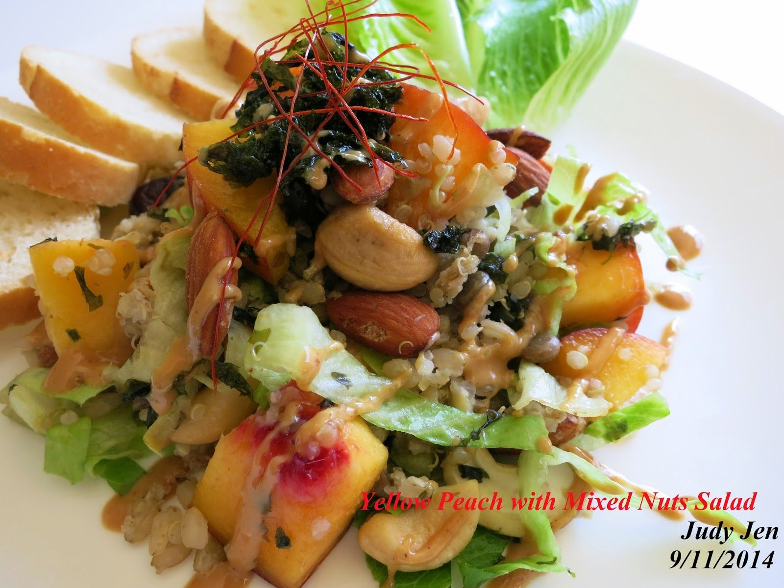C.A.K.E.: 健康餐Healthy Meals有機黃桃核果沙拉 Organic Yellow Peach with Mixed Nuts Salad 9/11/2014