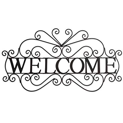 Amazon Com Besti Metal Welcome Sign Large Ornate Bronze Plaque Front Door Porch Patio And Entryway Deco Metal Welcome Sign Entryway Decor Welcome Sign