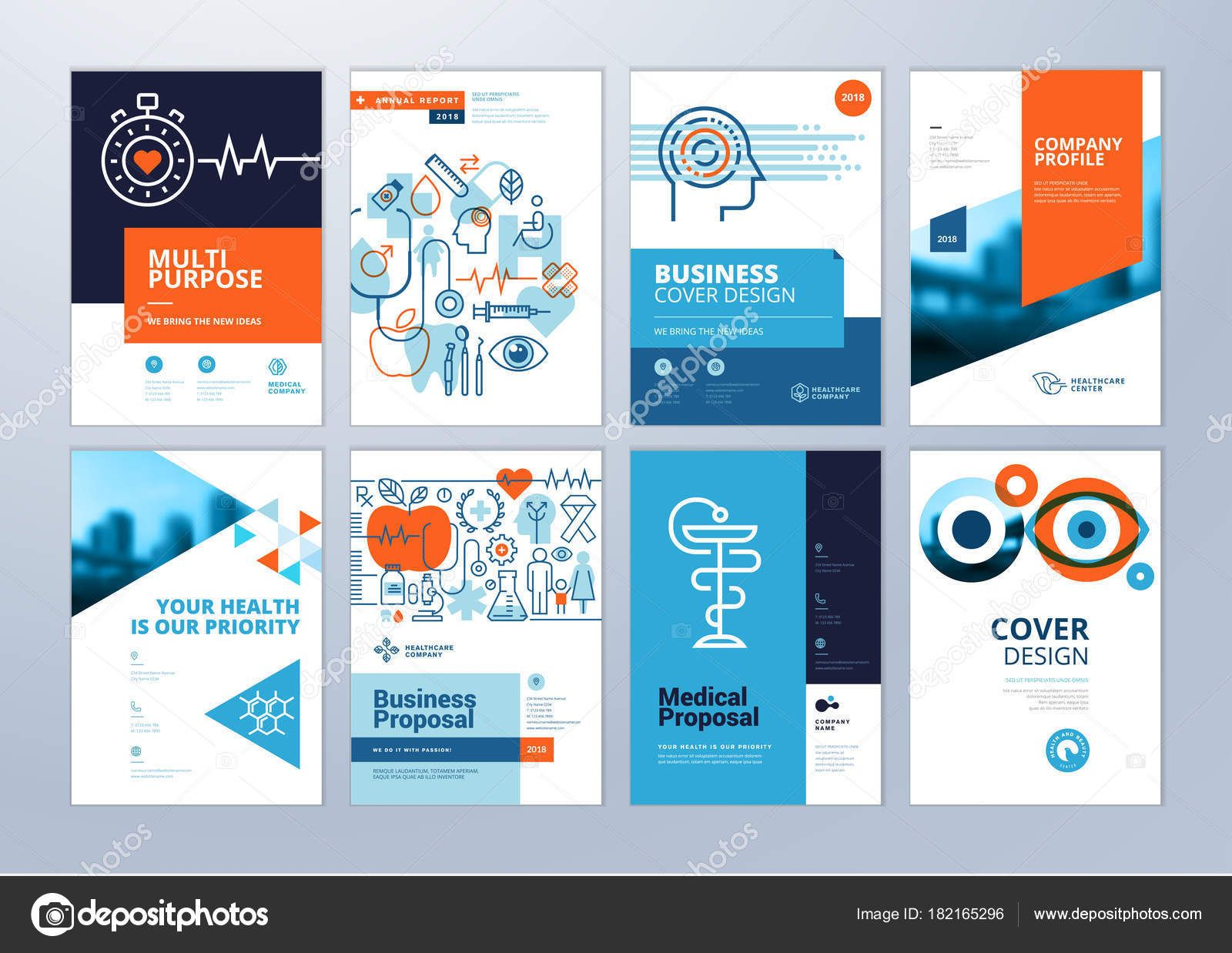 Set Medical Brochure Annual Report Flyer Design Templates