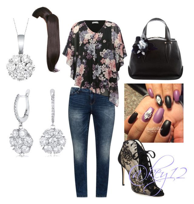 """""""sexy in floral 😜"""" by key12 ❤ liked on Polyvore featuring JunaRose, M&Co, Jimmy Choo, Delpozo and Allurez"""
