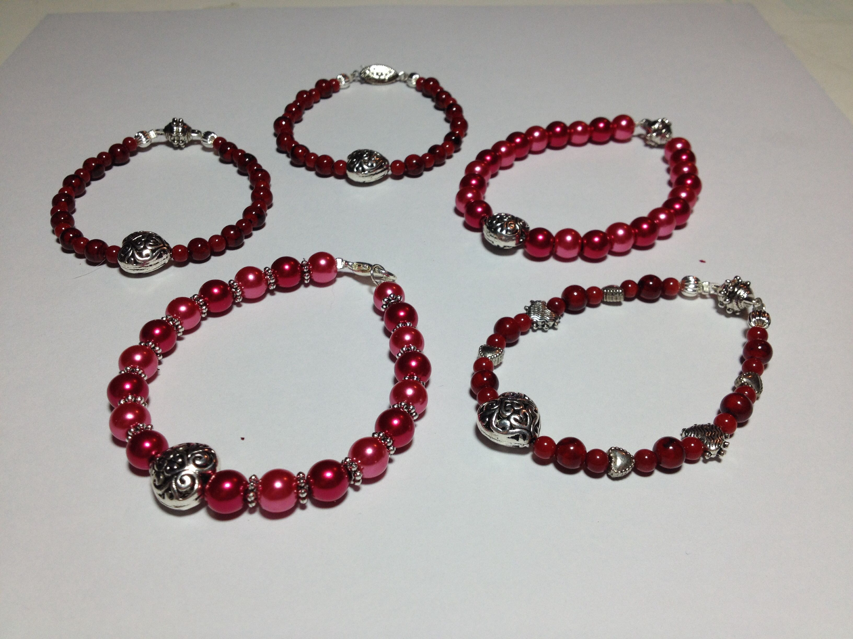 Valentines Day Bracelets  for sale $5 each made by Anne Akins visit my Facebook page Anne Akins to purchase