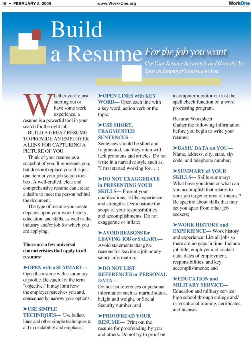 Build a Resume Resume tips, Resume, Build a resume