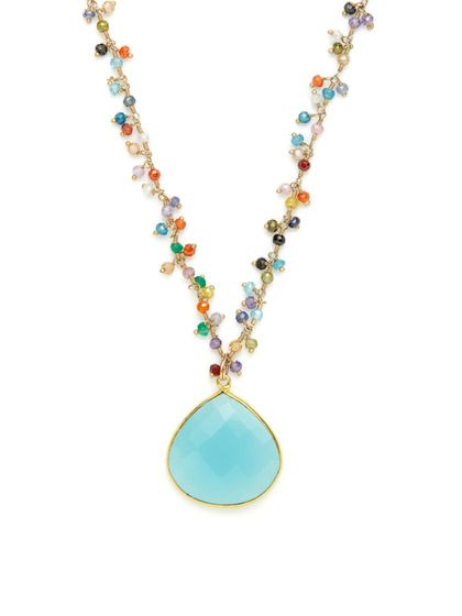 beautiful  Blue Chalcedony & CZ Pendant Necklace by Mary Louise Designs on Gilt