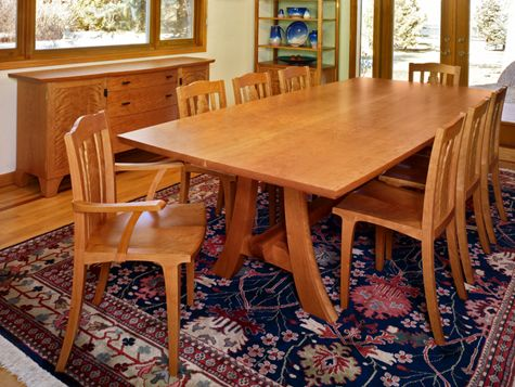Furniture by Dave Boykin, Cherrywood dining set made from a single