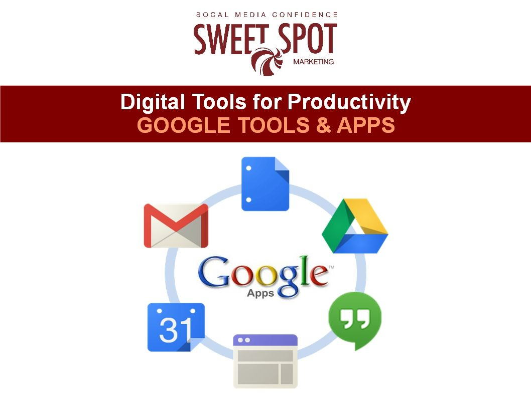 Learn how to use Google Apps & Tools with Sweet Spot Marketing Canada.  #GoogleApps  Google Apps is a cloud-based productivity suite that helps you and your team connect and get work done from anywhere on any device. It's simple to setup, use and manage, allowing you to work smarter and focus on what really matters.