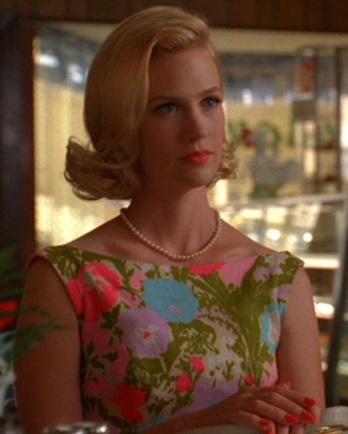 January Jones as Betty Draper, hair, lipstick, dress and nails ...