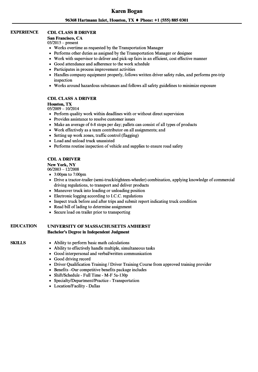 Cdl Class B Resume Examples — Scheduled (With images