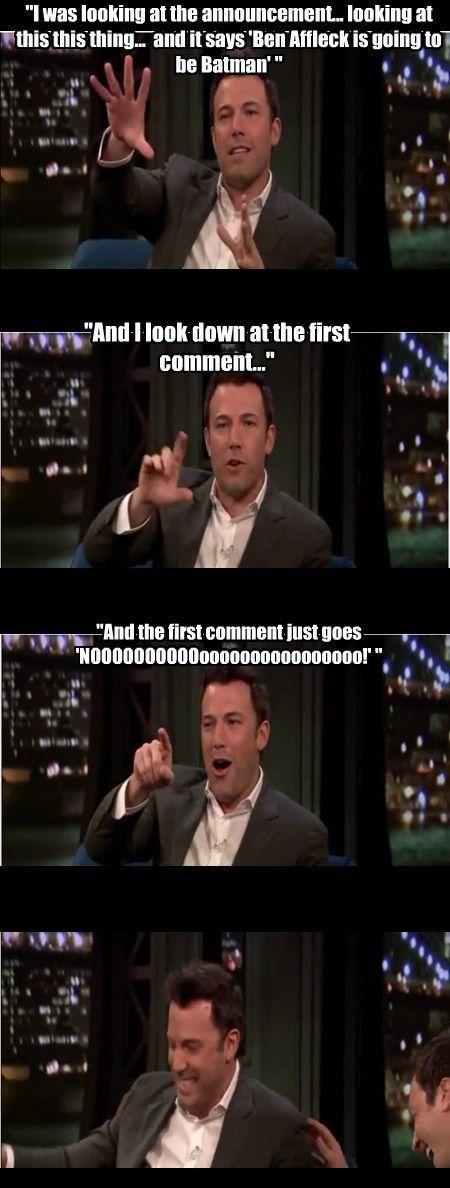 Ben Affleck on the reaction to the Batman announcement.