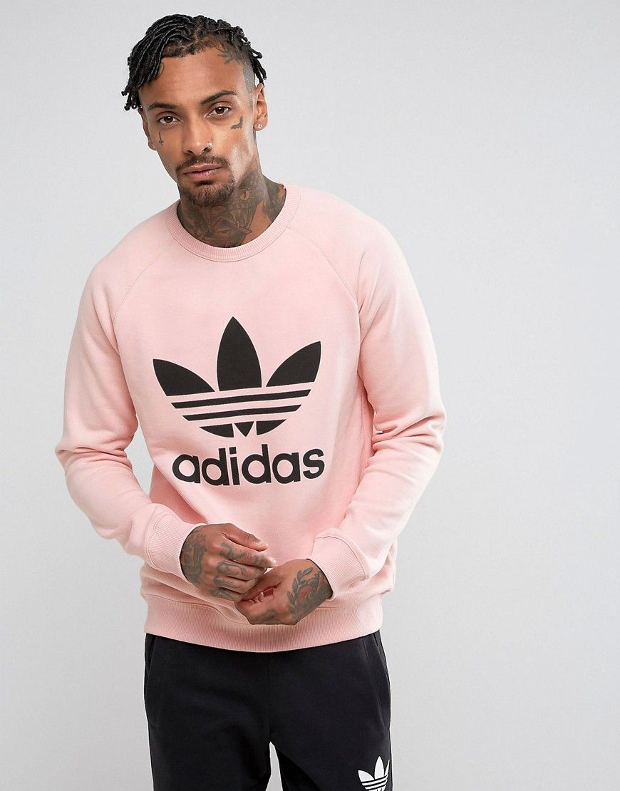 af9f8c4a8fb47 ADIDAS ORIGINALS TREFOIL CREW NECK SWEATSHIRT IN PINK BS2196 - PINK.  #adidasoriginals #cloth #