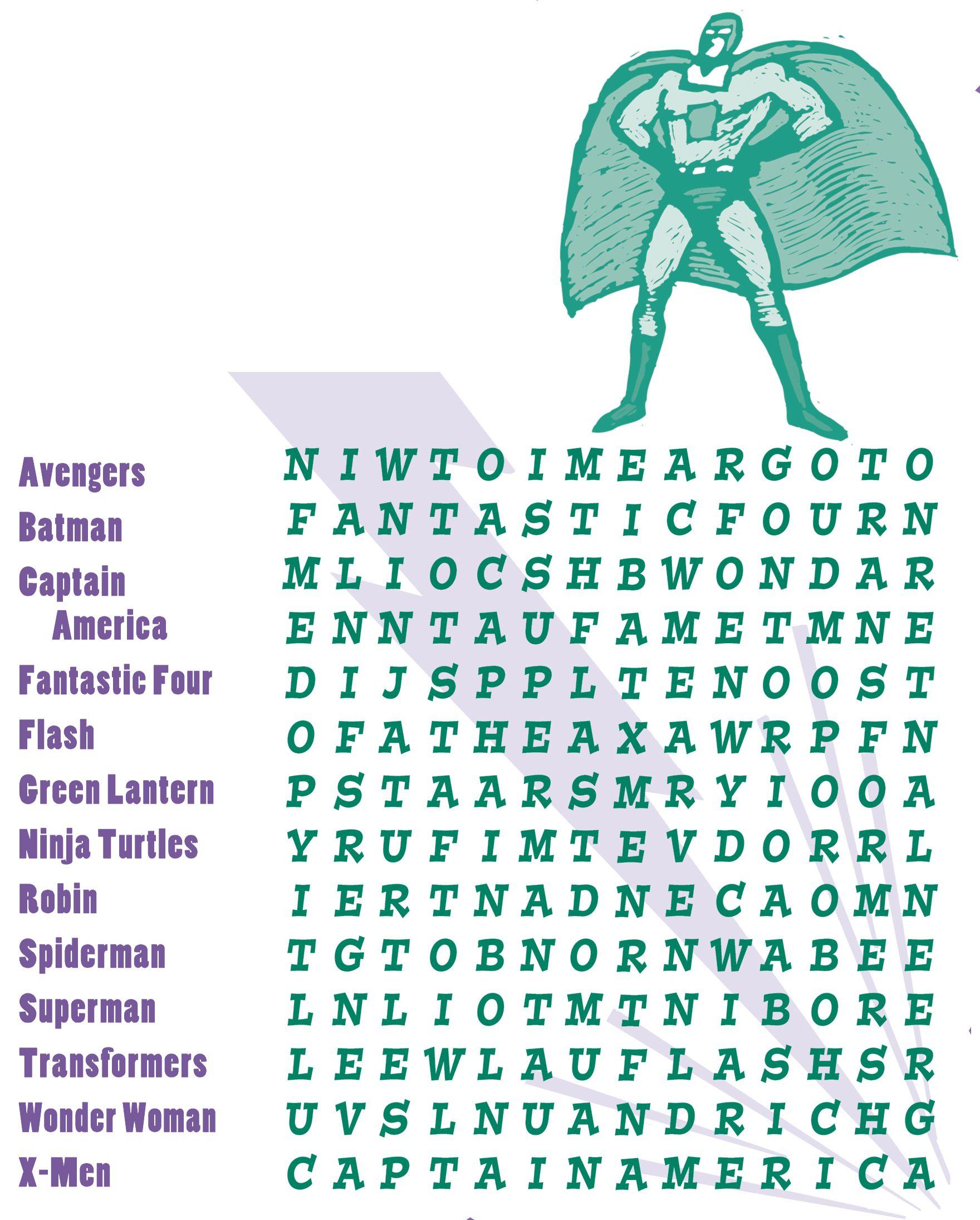 medium resolution of Pin de Linda Rabon en Superhero Party   Sopa de letras
