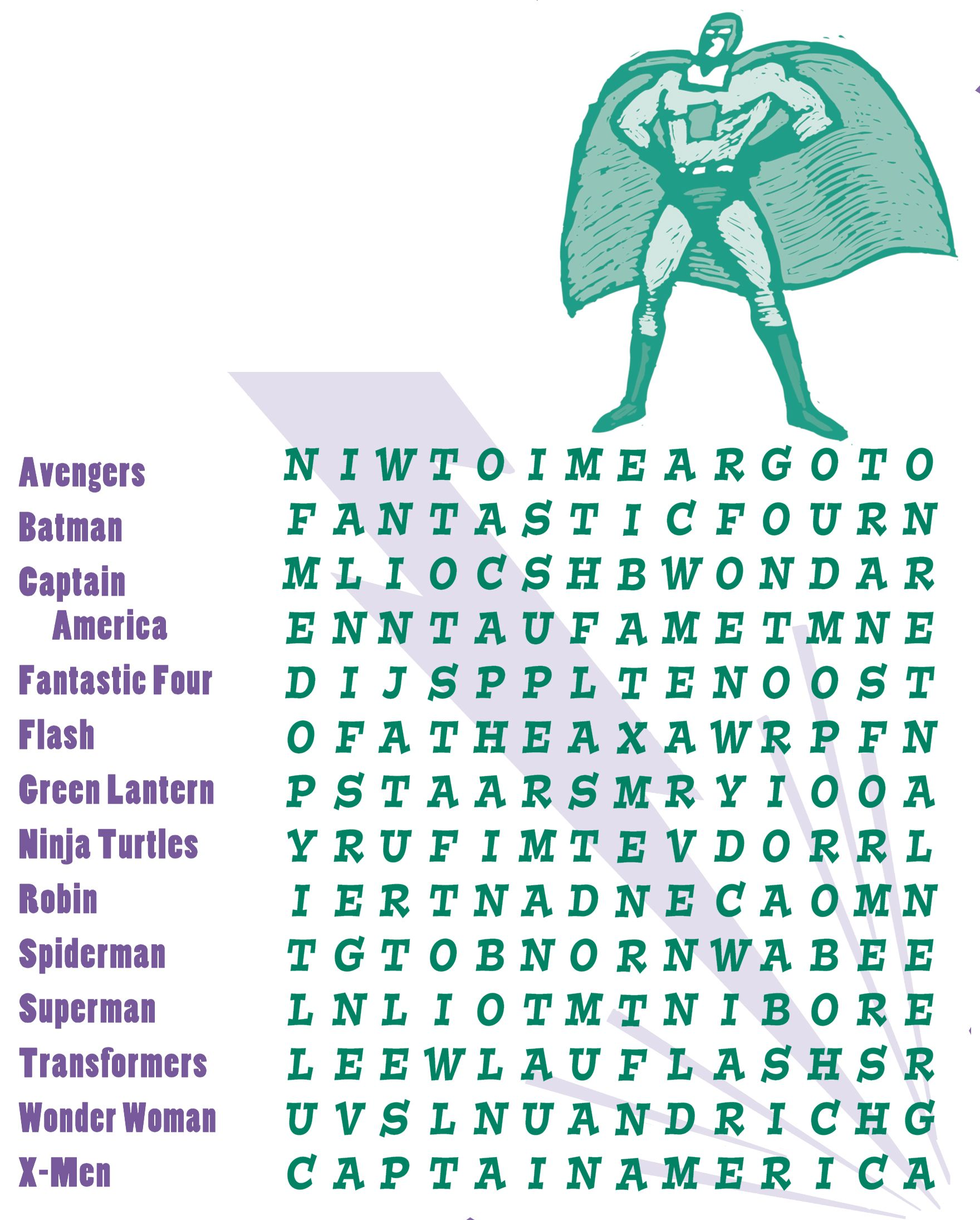 Pin de Linda Rabon en Superhero Party   Sopa de letras [ 2191 x 1760 Pixel ]