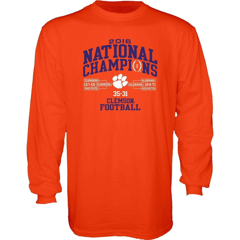 4ddd7fabf2357 Clemson Tigers 2016 College Football Champions Orange Bracket Scores LS T- Shirt