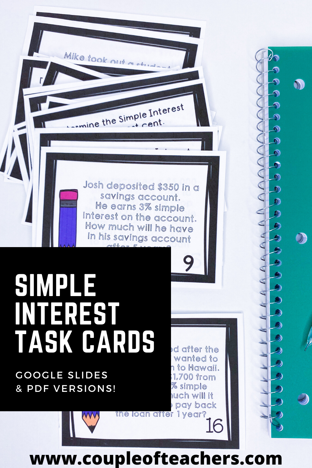 Simple Interest Task Cards for Financial Literacy   Math review worksheets [ 1500 x 1000 Pixel ]