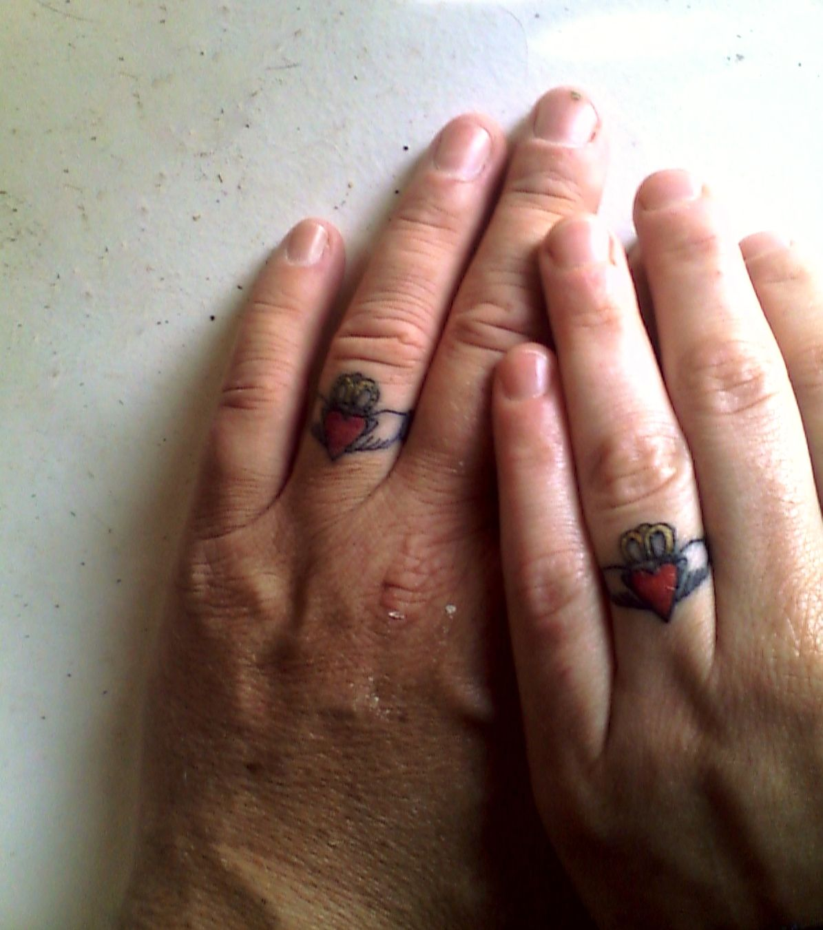 My Husband And I Got Claddagh Wedding Ring Tattoos To Celebrate Our