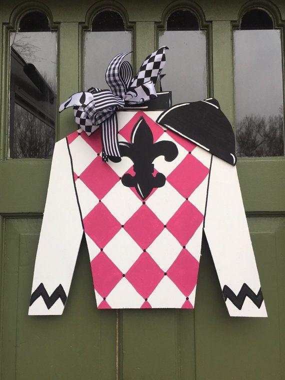 Kentucky Derby Jockey Jersey Wooden Door Hanger