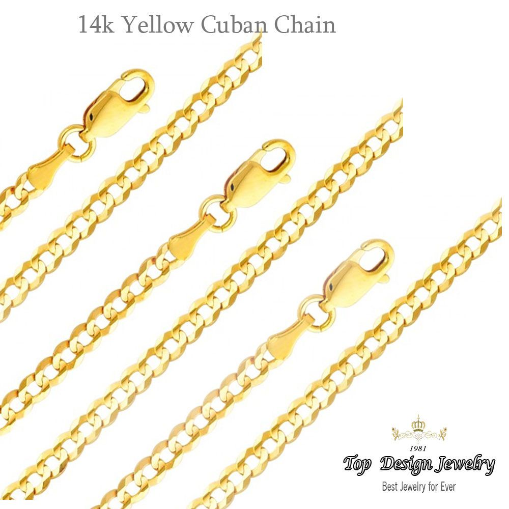 SOLID 14k Yellow Gold Cuban Chain Curb Necklace Link 2mm-5.7mm -7 ...