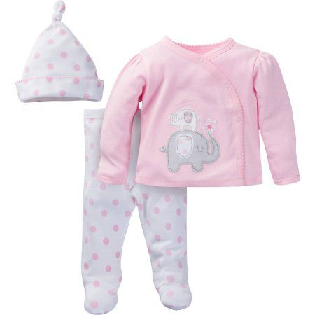 413643299377 Gerber Newborn Baby Girl Take-Me-Home Outfit Set
