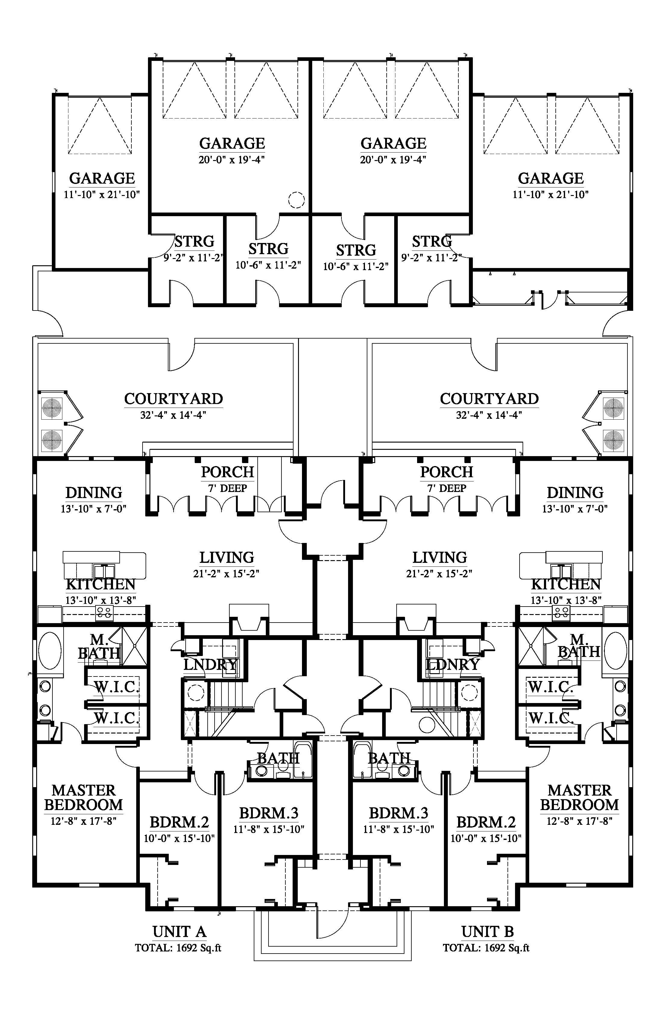 East Beach Quad Townhouse House Plan 05402 Design From Allison Ramsey Architects Duplex Floor Plans Architectural Floor Plans Coastal House Plans