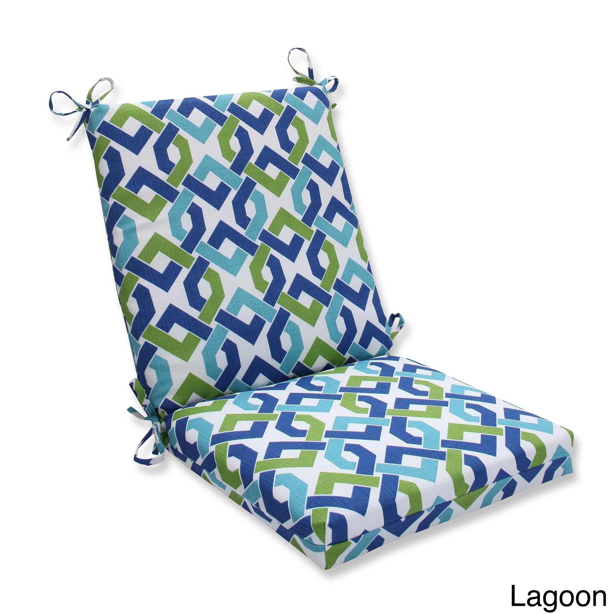 Pillow Perfect Outdoor/ Indoor Reiser Squared Corners Chair Cushion (Lagoon), White (Polyester), Outdoor Cushion