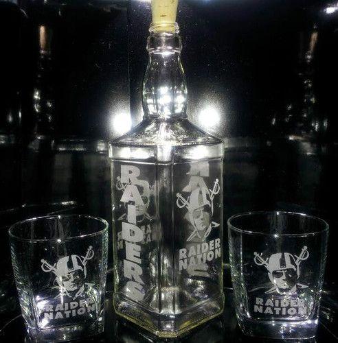 21d102a10 Etched OAKLAND RAIDERS 4-Sided Jack Daniels Bottle Set