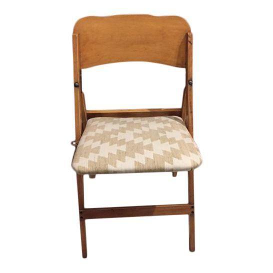 Bon Image Of Vintage Upholstered Wooden Folding Chair