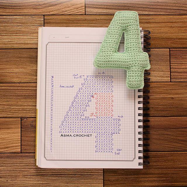 Números crochet - 4 | Letras ganchillo | Pinterest | Números, Letras ...