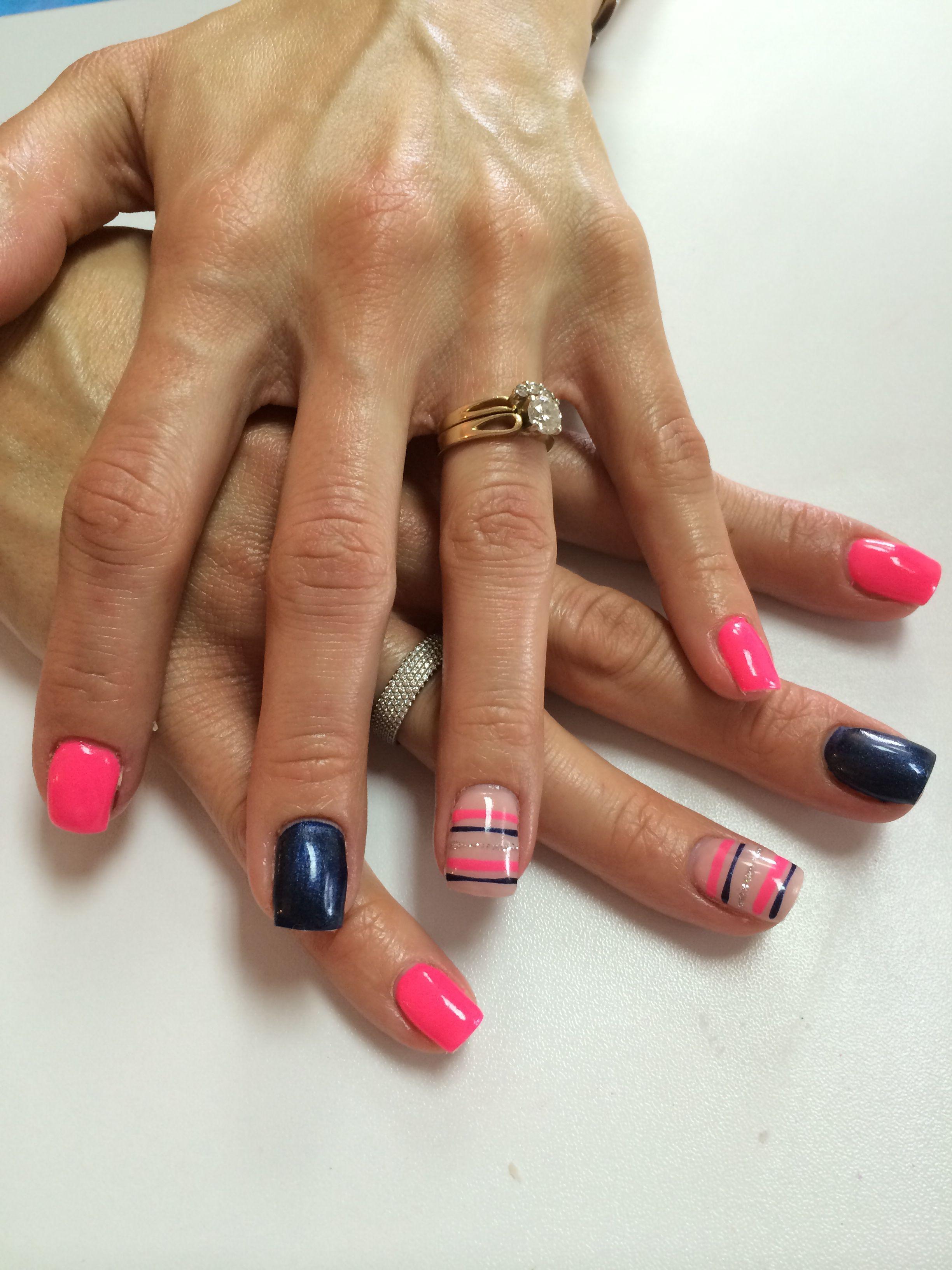 Hot Pink Navy Blue Nautical Stripes Navy Nails Navy Blue Nails Striped Nails