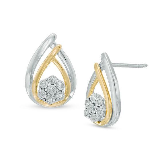 Zales Diamond Accent Flower Pinwheel Stud Earrings in Sterling Silver and 10K Gold BQeYpnVmB
