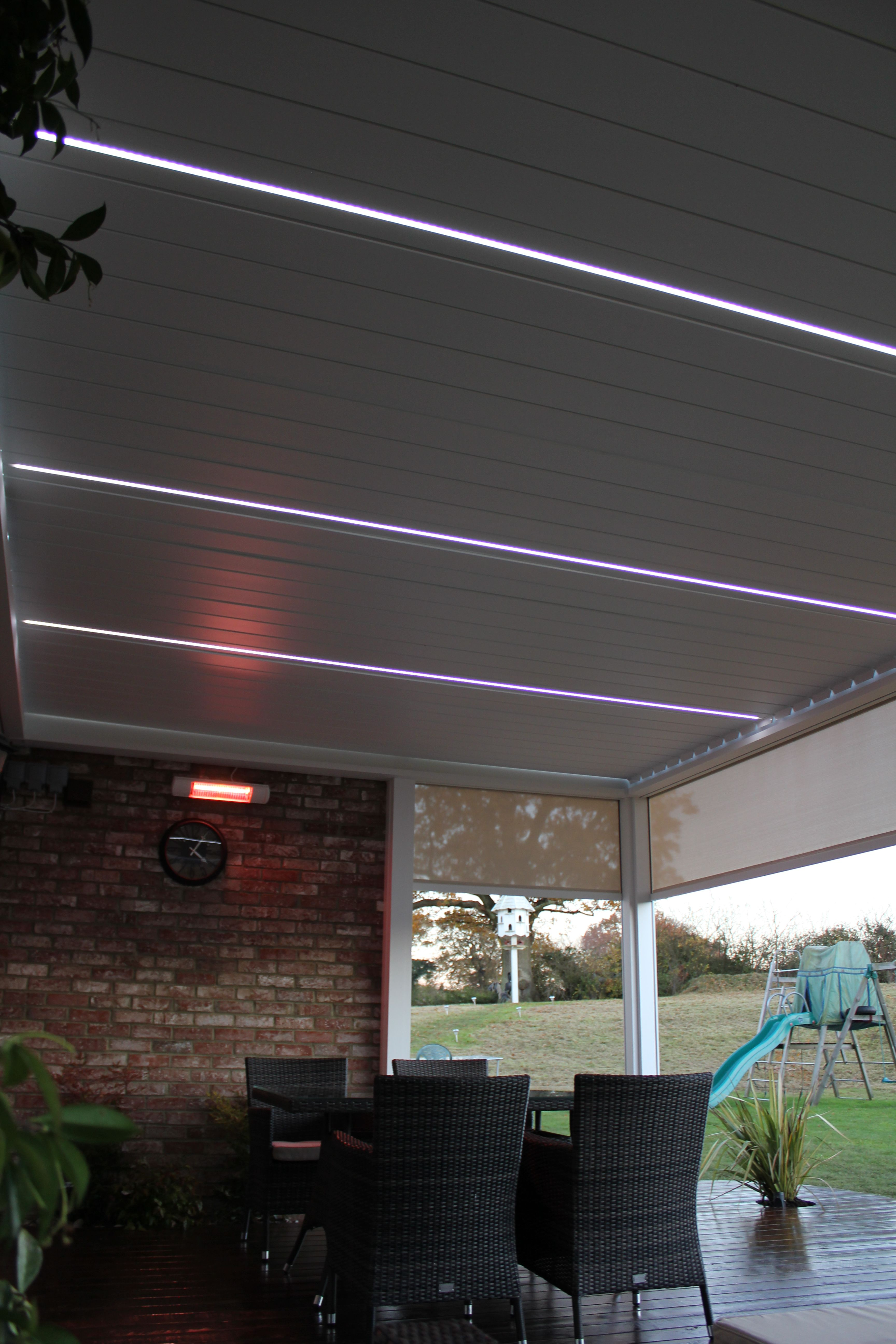 Also started to install some led lighting in the pergola - Outdoor Living Pod Louvered Roof Patio Canopy Installation In Kent With Integrated Screens Led