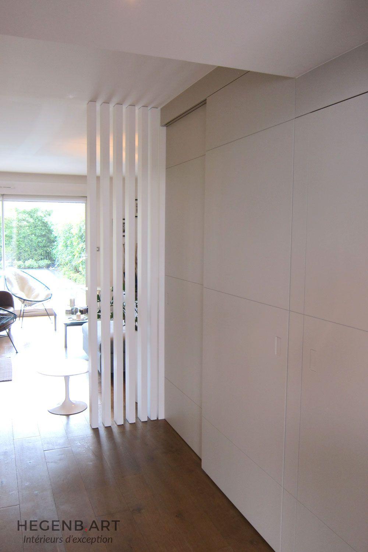 Cloison moderne design separation paravent entree salon rangement entree menuiserie hegenbart - Meuble separation cuisine sejour ...