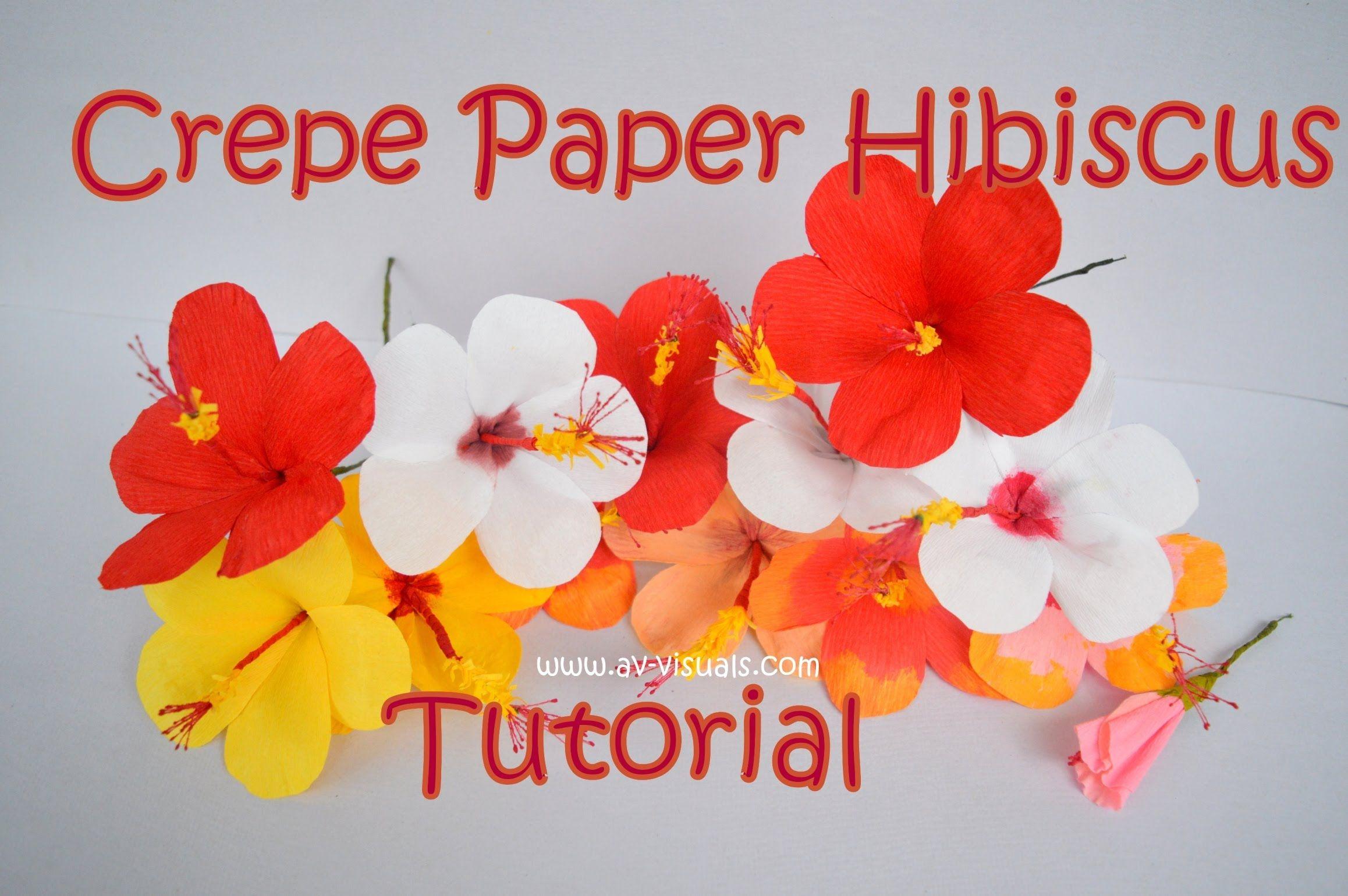 How To Make Hibiscus Flower From Crepe Paper Tutorial Av Visuals