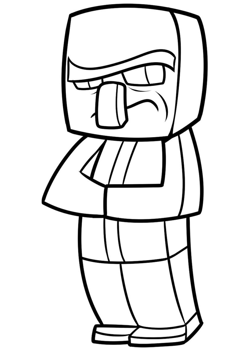 Villager High Quality Free Coloring From The Category Minecraft More Printable Pictures On Our W Minecraft Drawings Minecraft Coloring Pages Coloring Pages