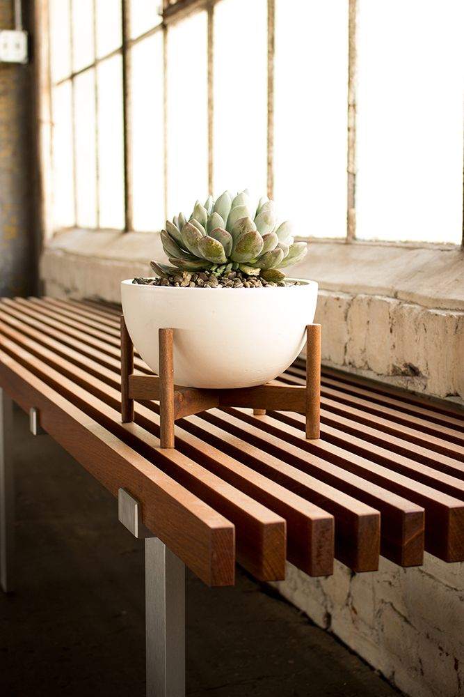 Case Study Table Top Planter Bowl With Wood Stand