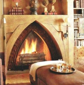 Gothic inspired fireplace from Gothic Tile is simply stunning!