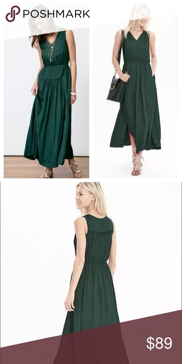 Sold Banana Republic Green Goddess V Neck Maxi Dresses Vneck Maxi Dress Clothes Design