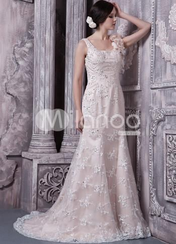 Champagne Satin Lace Flower Square Neck Prom Dress. This vintage-inspired dress will make you nostalgic for decades passed. Its made in a great 1920s style from antique lace with beaded accents. It features a square neck and a lovely shoulder courage of fabric flowers th.. . See More Square Neck at http://www.ourgreatshop.com/Square-Neck-C943.aspx